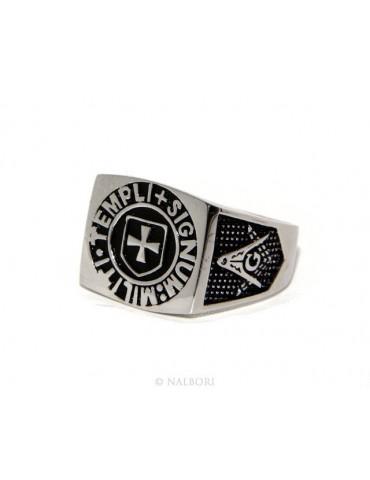 Anello Argento 925 da uomo scudo rettangolare sigillo croce nero