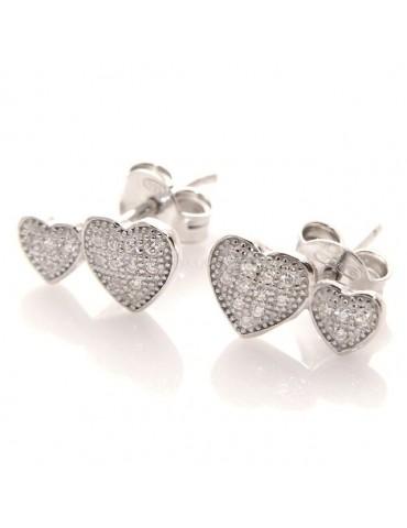 Argento 925 : orecchini donna zirconi bianchi cuore doppio