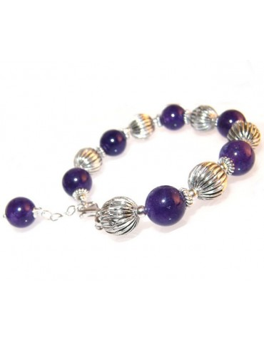 925: bracelet with antique elements and processed, natural pearls and amethyst pendant
