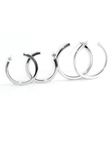 Earrings Silver 925 ITALIAN HOOP looking shiny with pin and butterfly in 2 sizes