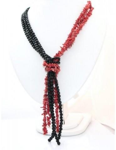 collana linea Capri sciarpina 3 fili bicolore rosso nero in corallo scoglio verace italiano rosso e perle di agata nera