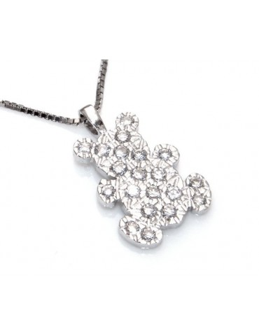 stamped 925: Necklace Venetian teddy bear pendant 19x10 pavé zirconia