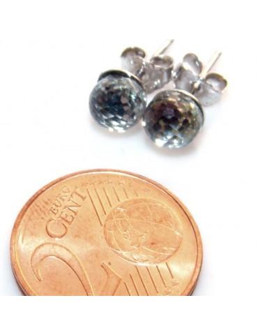 """Silver 925 :  earrings lobe  earrings women lobe """"gel ball"""", ball with beads lucite white"""