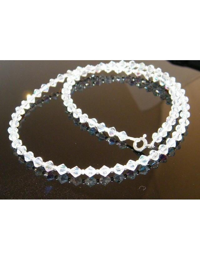 Collana girocollo Argento 925 Con Swarovski Bicono Bianco varie lunghezze