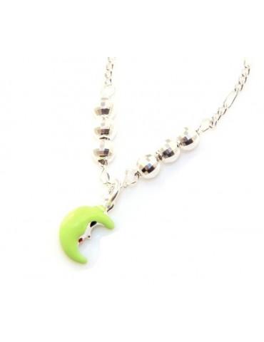 Argento 925 : Collana girocollo donna ragazza con mezza luna verde fluo