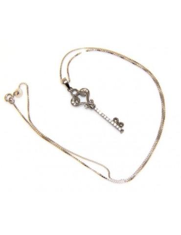 Argento 925 : Collana girocollo donna con chiave