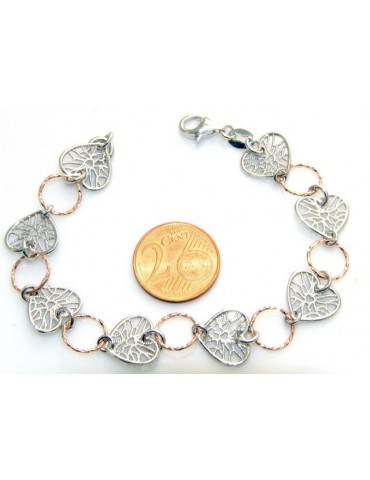 SILVER 925 :  bracelet for woman, hearts in medals