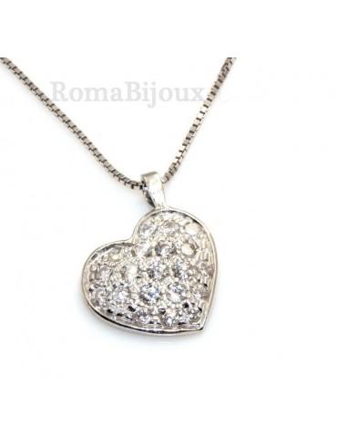 collana donna veneziana con cuore pave di zirconi