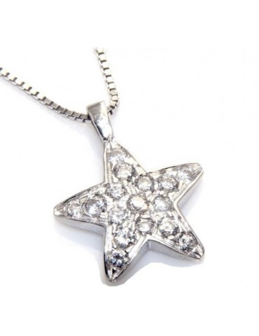 stamped 925: Necklace Venetian, with star pendant 15 x  20 pavé zirconia