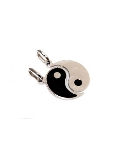 pendente in argento con yin e yang smalto nero