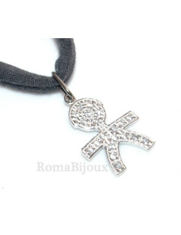 925: 44 cm Necklace Collier Venetian woman and child of white cubic zirconia