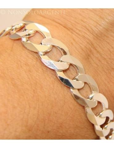 ARGENTO 925 : Bracciale uomo catena da 11,5 mm grumetta diamantata sbiancata