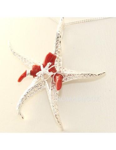 Esclusivo Ciondolo donna linea Capri in argento 925 Stella marina , stellina e corallo , completo di catena grumetta 45 cm