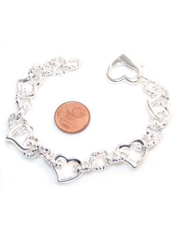 bracciale   donna argento chiaro con elementi a cuore
