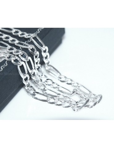 ARGENTO 925 : Collana e Bracciale uomo catena figaro 5 mm modello 3 + 1 sbiancata e piena