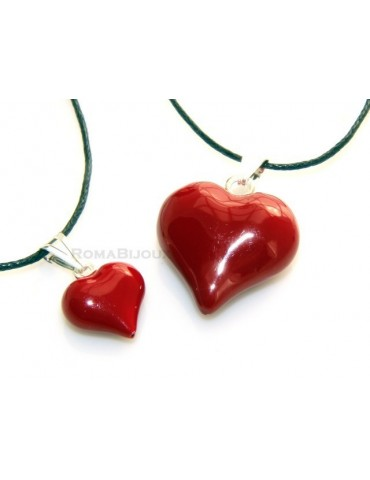 925 Silver Pendant: Red Heart enamel hand in 2 sizes