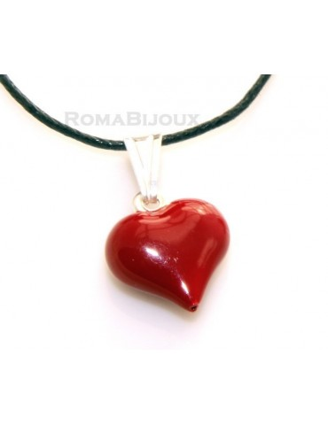 925 Silver Pendant: Red Heart enamel hand in 2 sizes