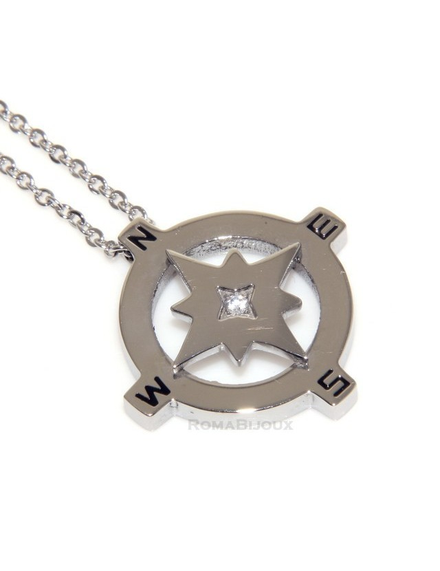 Hypoallergenic and stainless steel: Exclusive necklace rolo wind rose