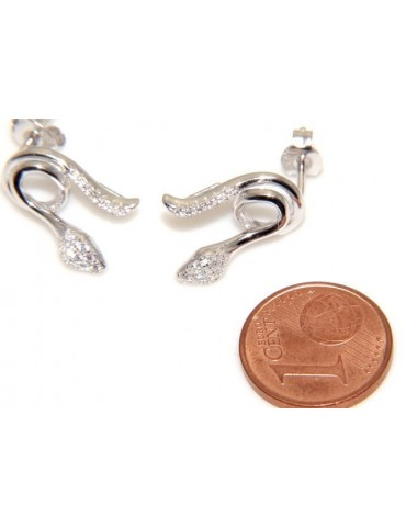 silver woman earrings snake