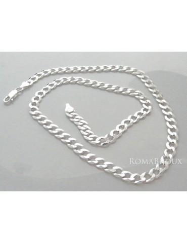 ARGENTO 925 : Collana e Bracciale uomo catena grumetta 6,5 mm massiccia piena diamantata