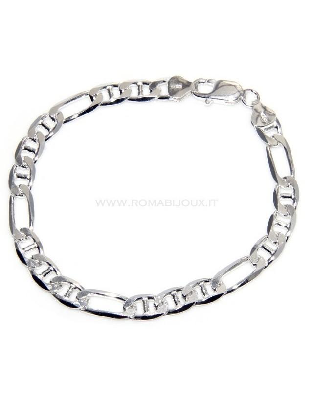 65d02258400c7f bracciale a catena figaro + maglia marina in argento 925 massiccio ...
