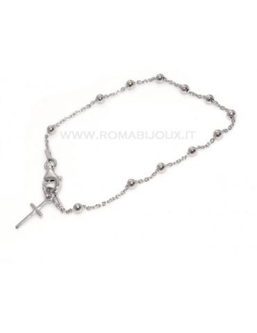 Bracciale rosario uomo o donna in Argento 925 croce liscia rod Oro giallo o bianco 17 cm