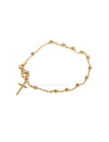 Rosary bracelet man or woman in 925 sterling silver cross smooth rod yellow gold or white 17 cm
