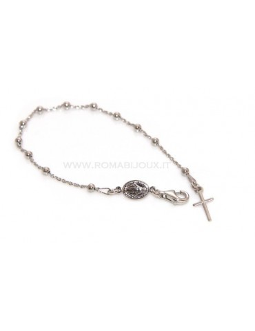 Rosary bracelet man or woman in 925 sterling silver cross smooth rod White gold balls 3 mm