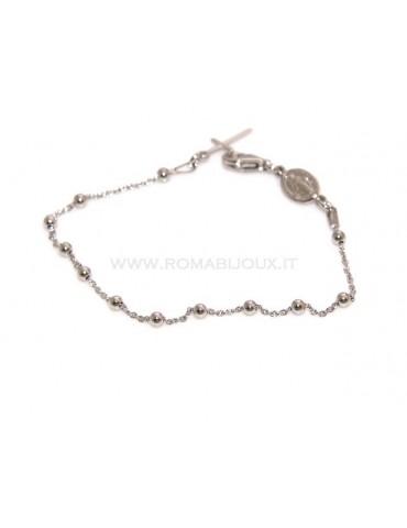 Bracciale rosario uomo o donna in Argento 925 croce liscia rod Oro bianco palline 3mm