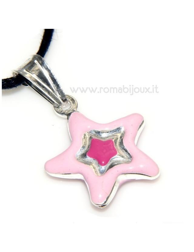 pendente smaltato rosa celeste stella