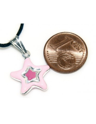 silver pendant star blue or pink