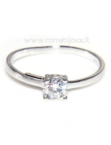 925 Rhodium: Solitaire with zircon 5mm brilliant cut