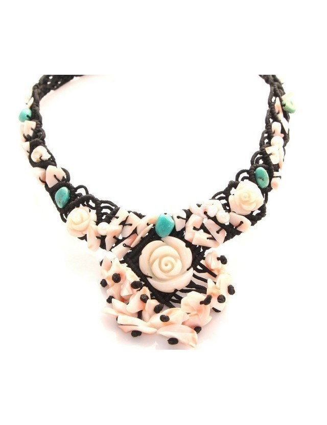 necklace scarf line Capri 3-wire two-tone red black coral reef true Italian red and black agate beads