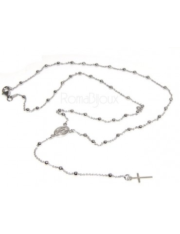 Rosary necklace man or woman in 925 sterling silver cross rod smooth white gold 56 cm