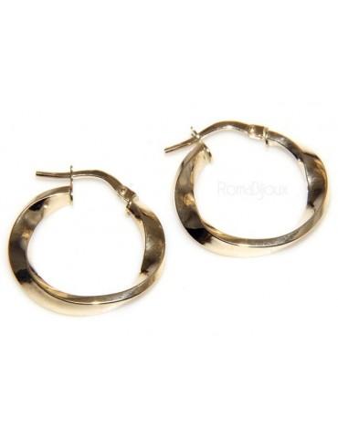 risparmia fino all'80% designer nuovo e usato acquistare ORO 375/oo - 9kt : Orecchini donna cerchi ritorti e diamantati anelle 2,10  cm made in italy