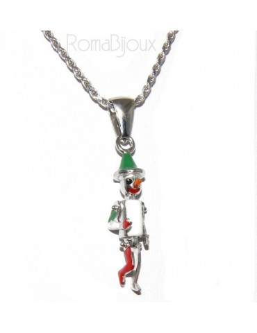 SILVER 925: Pinocchio articulated enameled pendant necklace with rope chain or rubber and silver strap
