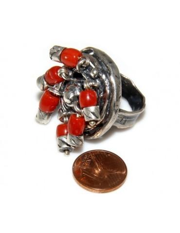 Argento 925 : Anello donna oblique  regolabile realizzato a mano con Corallo verace (Naturale )