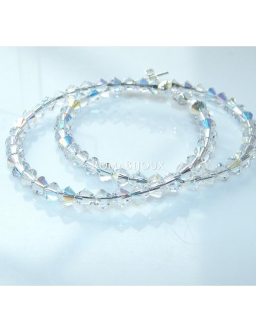 Orecchini Anelle Grandi in Argento 925 con Swaroski Bicono Crystal White Bianco