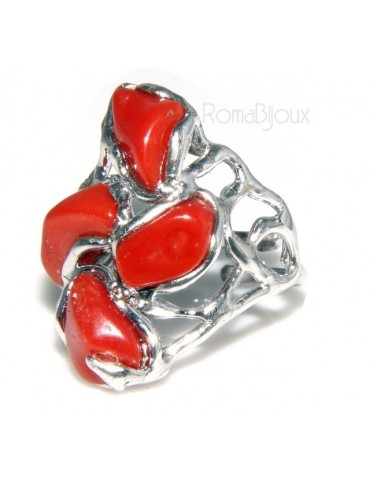 925: woman adjustable ring handmade with natural red coral star