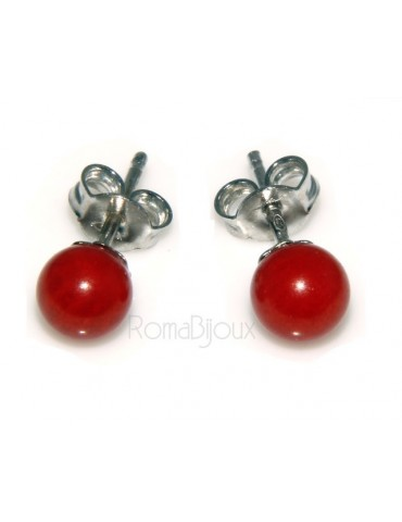 Earrings in 925 sterling silver pearl ball calibrated natural coral red
