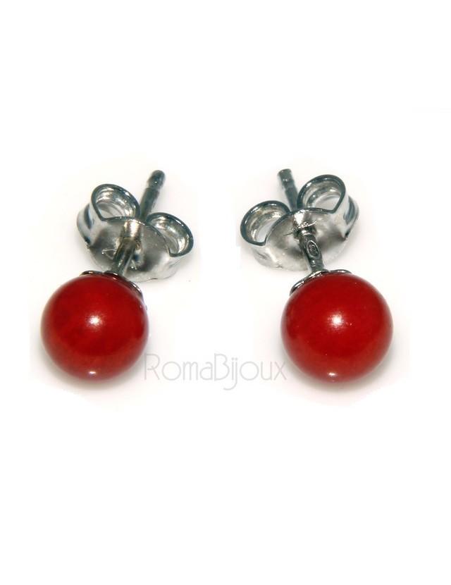 Orecchini in Argento 925 pallina perla calibrata corallo naturale rosso
