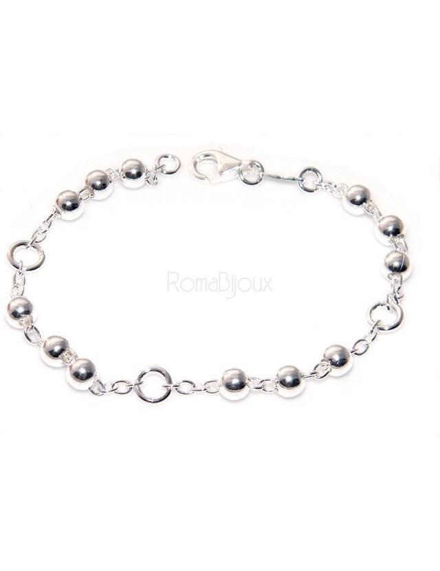 8259b32531fbd6 Bracciale rosario uomo o donna in Argento 925 croce liscia rod Oro bianco  palline 4 mm