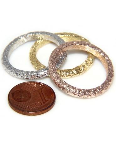 Argento 925 Italiano : anello fusione 3 colori (oro bianco giallo rosa) diamantato mis 16 o 14
