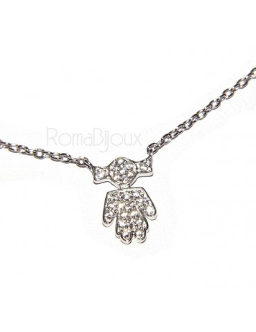 silver 925 Necklace Collier Venetian woman 44 cm little girl with pigtails microsetting