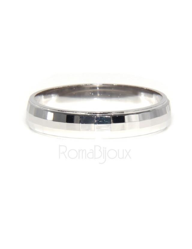 Argento 925 : Anello fede fedina diamantata massiccia 6 mm oblique e orizzontali tutte le misure