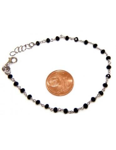 Bracciale rosario uomo in Argento 925 con immagine madonnina , croce convessa e cristallo nero . Mis 17,00 - 22,00