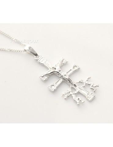 ARGENTO 925 Ciondolo Croce di Caravaca (Cruz de Caravaca) con Catena per uomo e donna