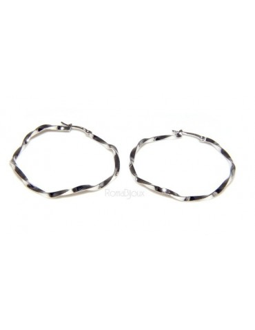925: Women's earrings hoop circles twisted bushes 45.0 mm
