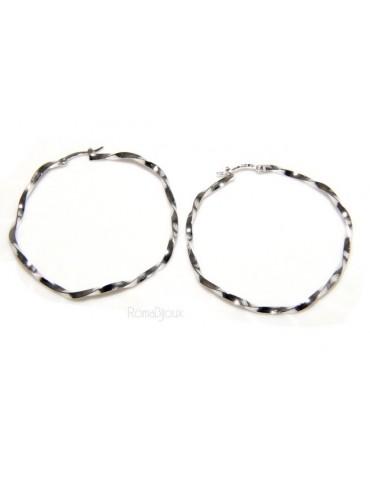 Argento 925 : orecchini donna anelle cerchi boccole ritorte 45,0 mm