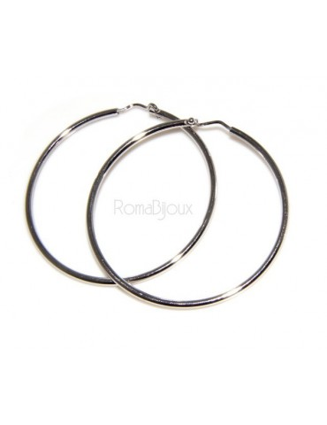 925: Women's earrings hoop circles classic smooth bushes 26.0 mm